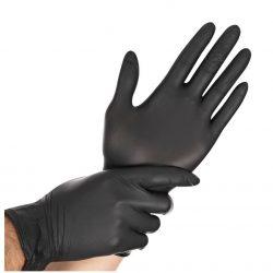Nitrilo eldobható nitril vizsgálókesztyű, púdermentes, fekete színben, M-es méret 100 db