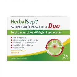 Herbalsept szopogató pasztilla duo torokpanaszok és köhögési inger esetén kamilla ízesítéssel és mézzel 24 db