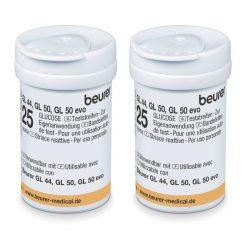Beurer Tesztcsík GL 44 / GL 50 (evo) (2x25) -   5 nyelvű vércukorszintmérő