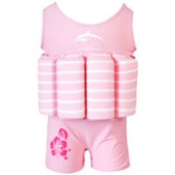 Konfidence Floatsuits™ gyermek úszóruha PINK STRIPE Rugalmas lycra anyagú úszóruha 8 kivehető úszószivacsal