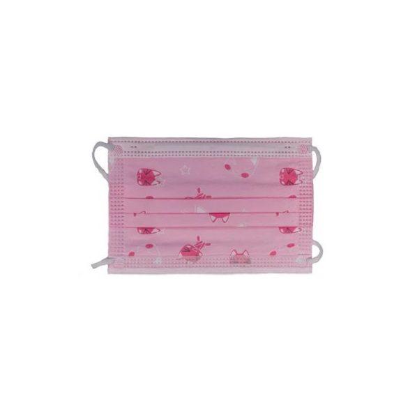Eldobható 3 rétegű gyerek szájmaszk rózsaszín 10 db