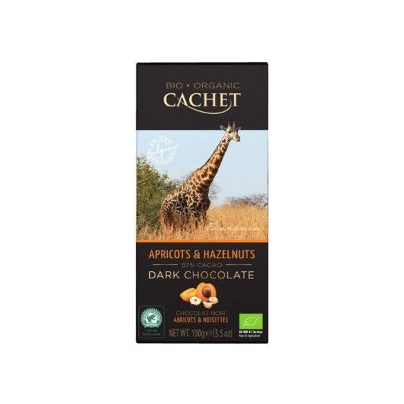 Cachet bio táblás étcsokoládé 57% sárgabarack-mogyoró 100 g