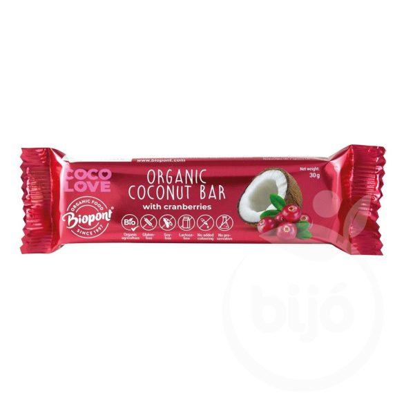 Biopont bio coco love vörösáfonyás kókuszos szelet 30 g