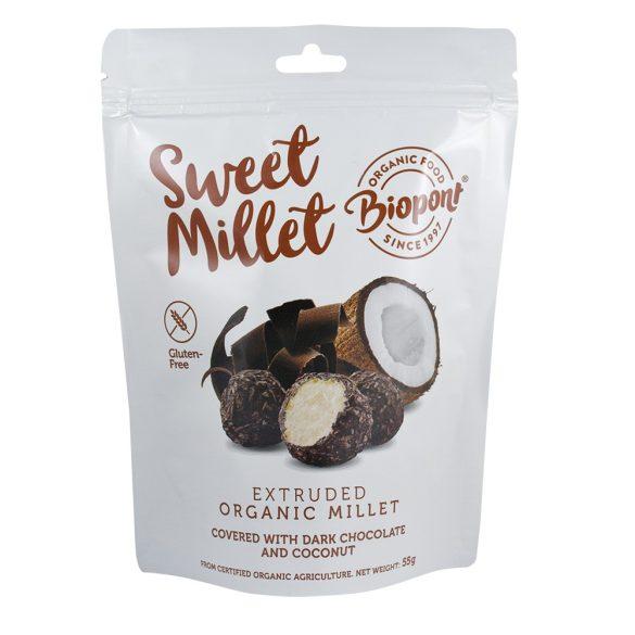 Biopont bio sweet millet étcsokoládés kókuszos extrudált köles, gluténmentes 55 g