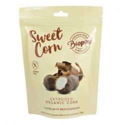 Biopont bio sweet corn tejcsokoládéval bevont extrudált kukorica, gluténmentes 60 g