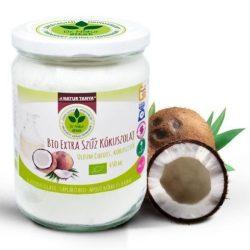 Dr. Natur étkek, Bio extra szűz kókuszolaj (VCO). Kémiai anyagoktól mentes. Ehető és kenhető. 450ml