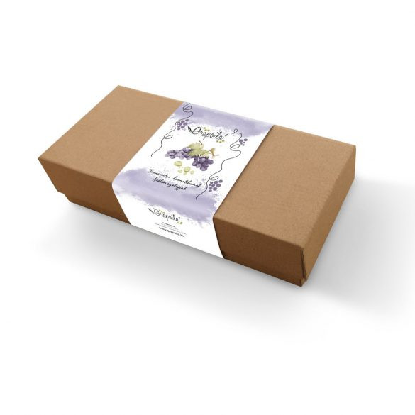 Grapoila SZŐLŐMAGOLAJOS KOZMETIKUMOK AJÁNDÉKDOBOZ Szőlőmagolajos szappan 100g, szőlőmagolajos ajakápoló 6g, szőlőmagolaj-iszap arcpakolás 120g 1 doboz