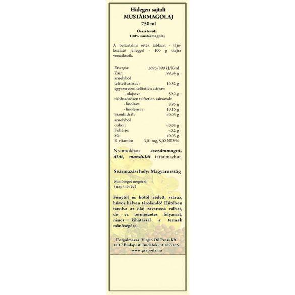 Grapoila hidegen sajtolt mustármagolaj 750ml
