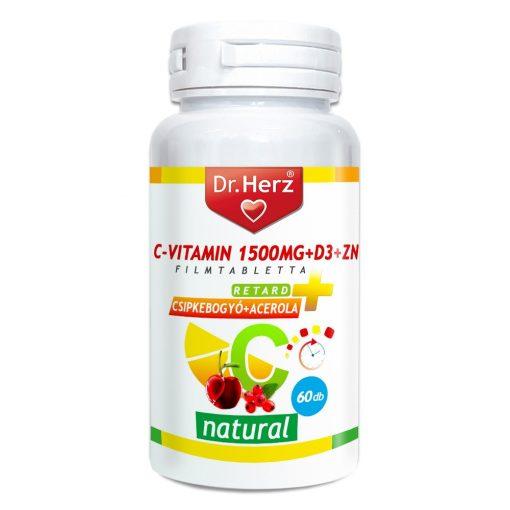 DR Herz C-vitamin 1500mg+D3+Zn csipkebogyóval és acerola kivonattal 60 db tabletta #GJ