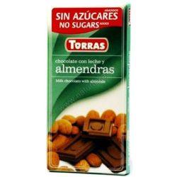 Torras glutén-és cukormentes tejcsokoládé mandula 75 g