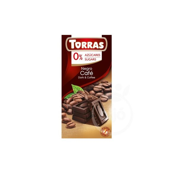 Torras gluténmentes kávés étcsokoládé hozzáadott cukor nékül 75 g