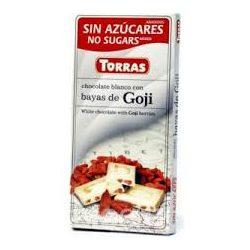 Torras glutén-és cukormentes fehércsokoládé goji bogyó 75 g