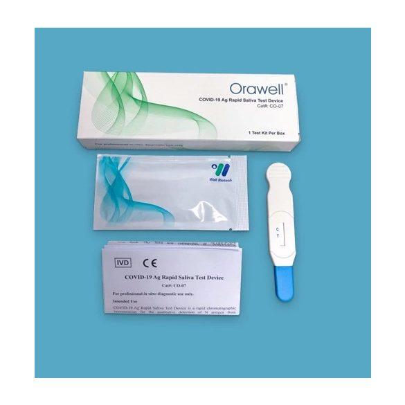 Well Biotech Orawell COVID-19 antigén, nyalókás, egylépéses gyorsteszt – 1 db tesztkészlet (nyálból)
